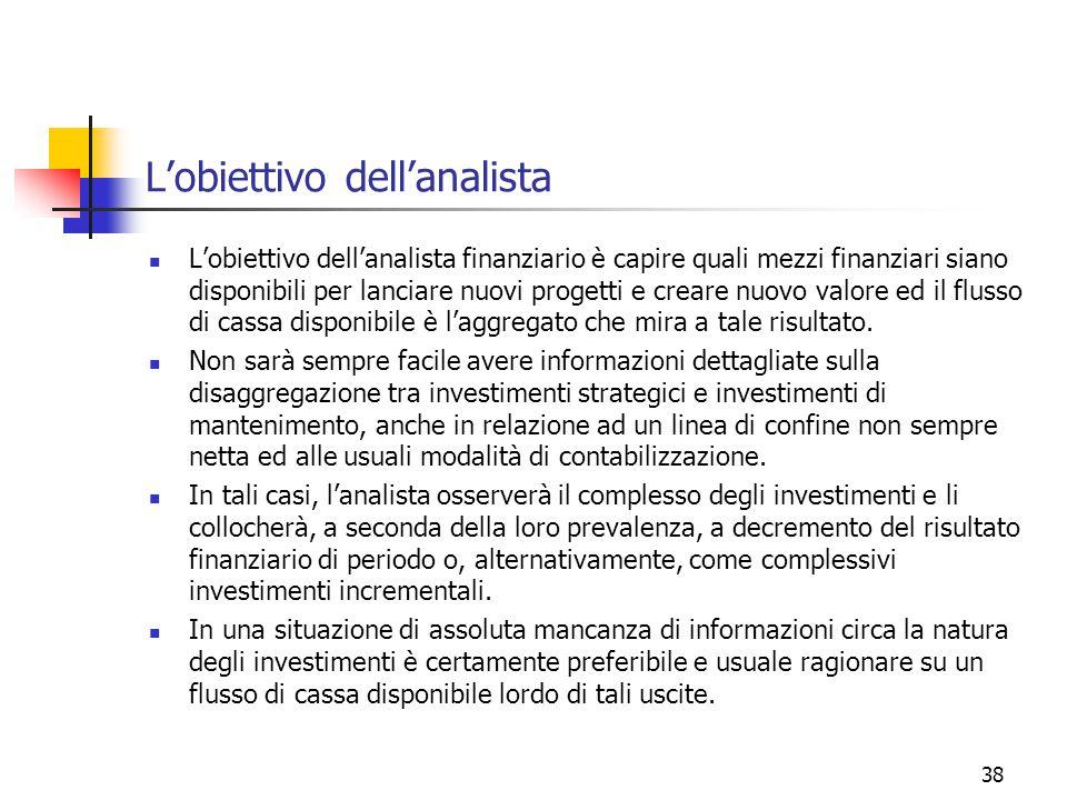 38 L'obiettivo dell'analista L'obiettivo dell'analista finanziario è capire quali mezzi finanziari siano disponibili per lanciare nuovi progetti e creare nuovo valore ed il flusso di cassa disponibile è l'aggregato che mira a tale risultato.