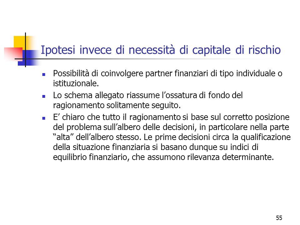 55 Ipotesi invece di necessità di capitale di rischio Possibilità di coinvolgere partner finanziari di tipo individuale o istituzionale.