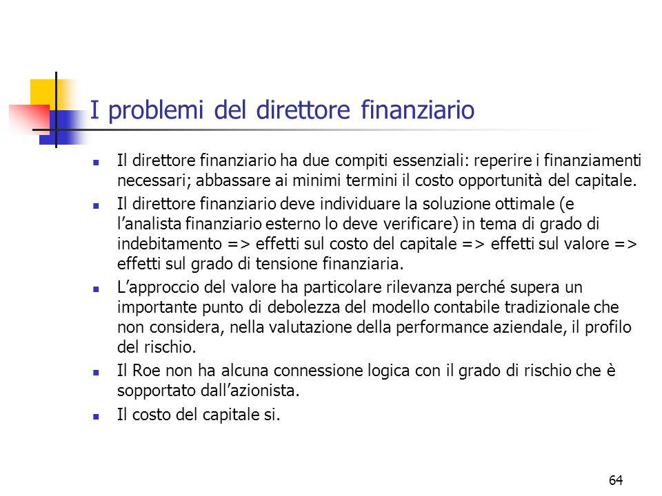 64 I problemi del direttore finanziario Il direttore finanziario ha due compiti essenziali: reperire i finanziamenti necessari; abbassare ai minimi termini il costo opportunità del capitale.