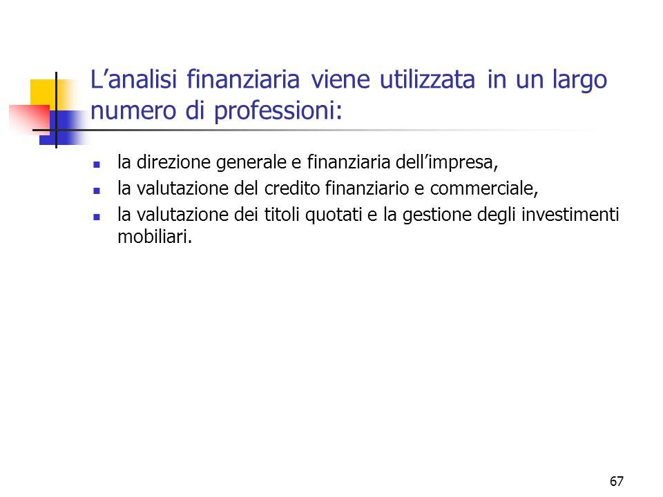 67 L'analisi finanziaria viene utilizzata in un largo numero di professioni: la direzione generale e finanziaria dell'impresa, la valutazione del credito finanziario e commerciale, la valutazione dei titoli quotati e la gestione degli investimenti mobiliari.