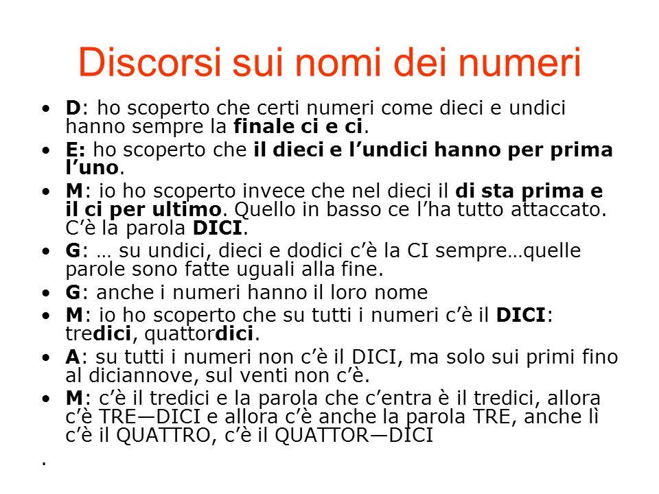 D: ho scoperto che certi numeri come dieci e undici hanno sempre la finale ci e ci. E: ho scoperto che il dieci e l'undici hanno per prima l'uno. M: i
