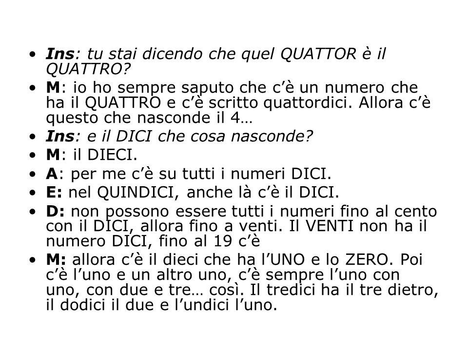 Ins: tu stai dicendo che quel QUATTOR è il QUATTRO? M: io ho sempre saputo che c'è un numero che ha il QUATTRO e c'è scritto quattordici. Allora c'è q