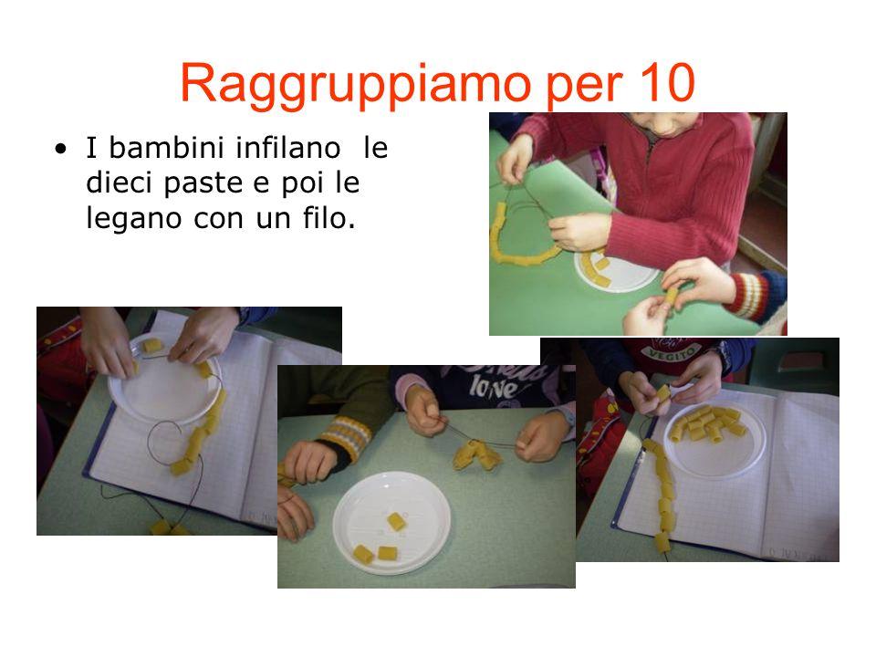 Raggruppiamo per 10 I bambini infilano le dieci paste e poi le legano con un filo.