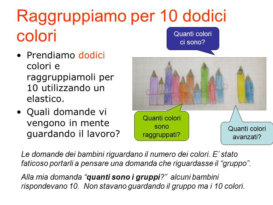 Raggruppiamo per 10 dodici colori Prendiamo dodici colori e raggruppiamoli per 10 utilizzando un elastico. Quali domande vi vengono in mente guardando