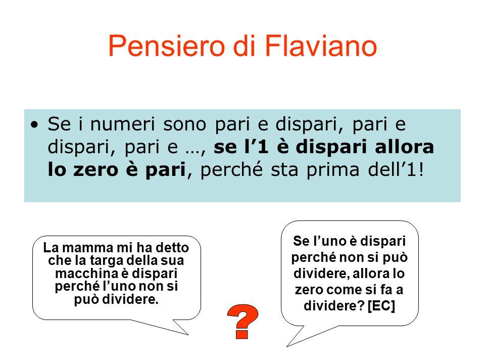 Pensiero di Flaviano Se i numeri sono pari e dispari, pari e dispari, pari e …, se l'1 è dispari allora lo zero è pari, perché sta prima dell'1! Se l'
