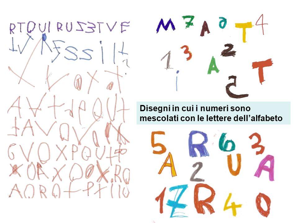 Disegni in cui i numeri sono mescolati con le lettere dell'alfabeto