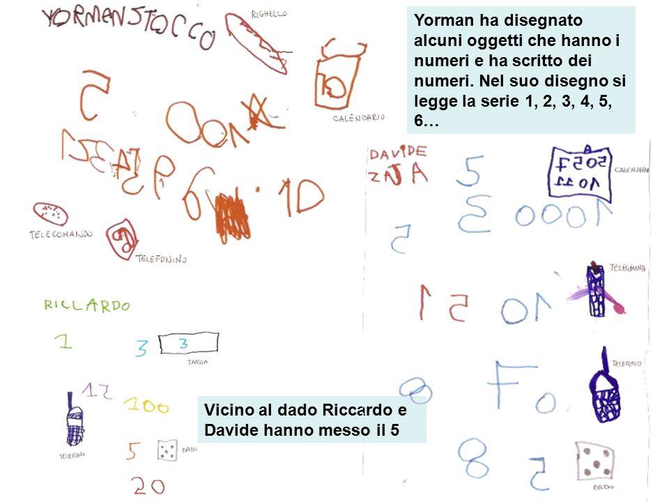 Yorman ha disegnato alcuni oggetti che hanno i numeri e ha scritto dei numeri. Nel suo disegno si legge la serie 1, 2, 3, 4, 5, 6… Vicino al dado Ricc