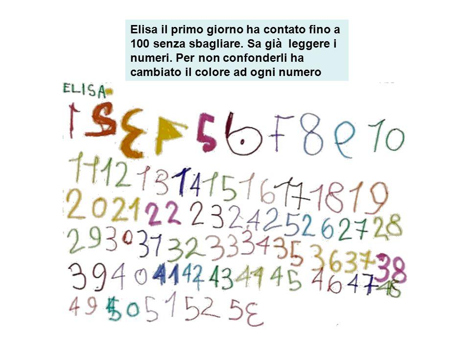 Elisa il primo giorno ha contato fino a 100 senza sbagliare. Sa già leggere i numeri. Per non confonderli ha cambiato il colore ad ogni numero