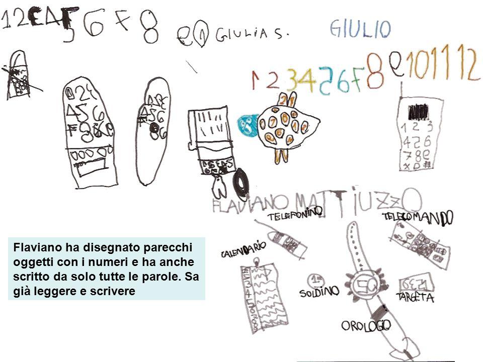 Flaviano ha disegnato parecchi oggetti con i numeri e ha anche scritto da solo tutte le parole. Sa già leggere e scrivere