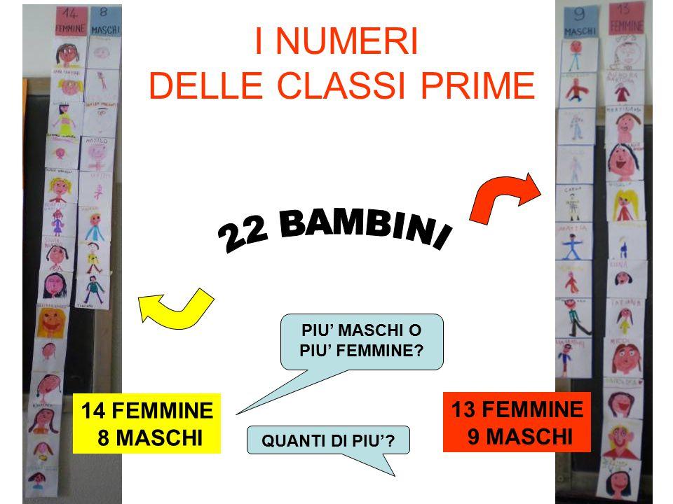 I NUMERI DELLE CLASSI PRIME 14 FEMMINE 8 MASCHI 13 FEMMINE 9 MASCHI PIU' MASCHI O PIU' FEMMINE? QUANTI DI PIU'?