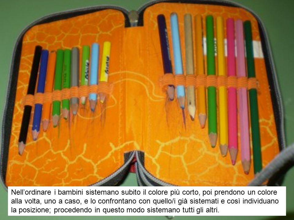 Nell'ordinare i bambini sistemano subito il colore più corto, poi prendono un colore alla volta, uno a caso, e lo confrontano con quello/i già sistema