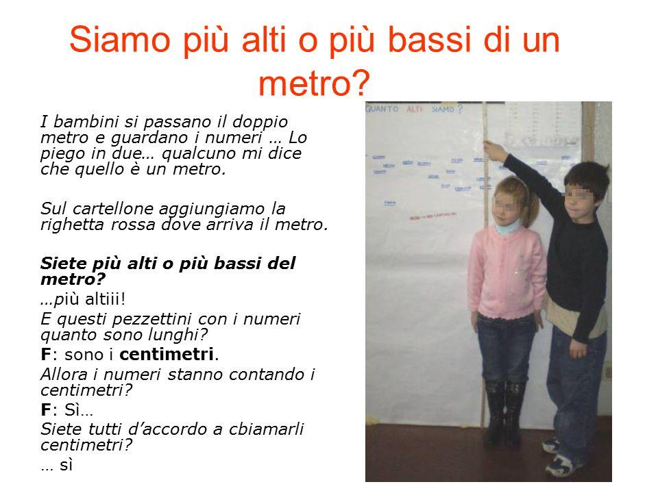 Siamo più alti o più bassi di un metro? I bambini si passano il doppio metro e guardano i numeri … Lo piego in due… qualcuno mi dice che quello è un m