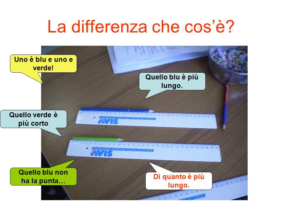 La differenza che cos'è? Uno è blu e uno e verde! Quello verde è più corto Quello blu non ha la punta… Quello blu è più lungo. Di quanto è più lungo.