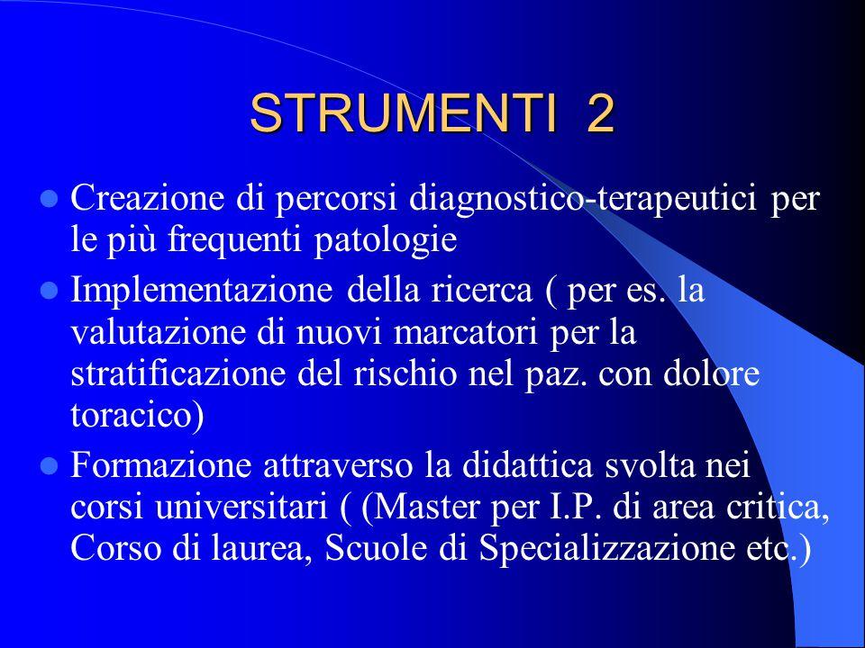 STRUMENTI 2 Creazione di percorsi diagnostico-terapeutici per le più frequenti patologie Implementazione della ricerca ( per es. la valutazione di nuo