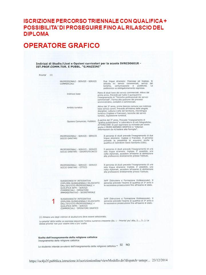1 ISCRIZIONE PERCORSO TRIENNALE CON QUALIFICA + POSSIBILITA' DI PROSEGUIRE FINO AL RILASCIO DEL DIPLOMA OPERATORE GRAFICO