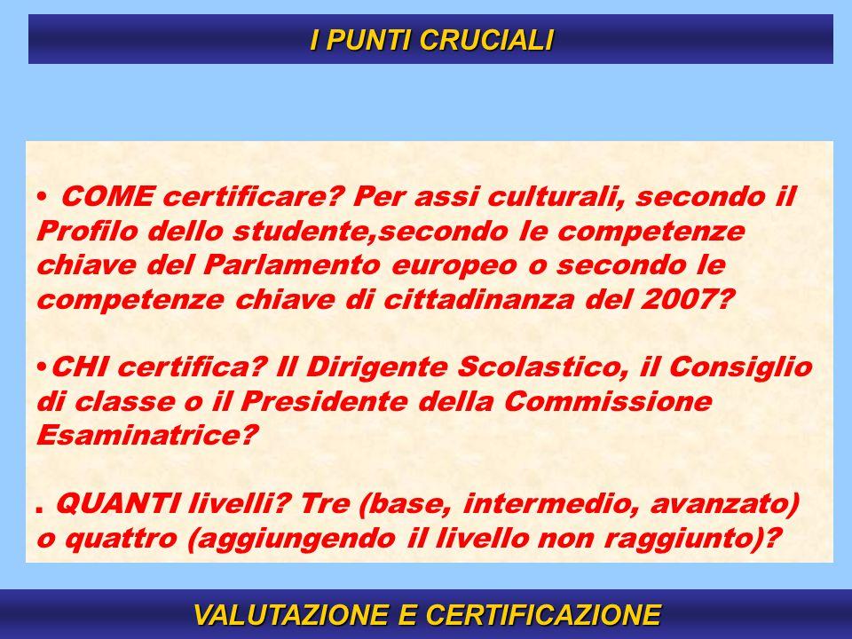 15 COME certificare? Per assi culturali, secondo il Profilo dello studente,secondo le competenze chiave del Parlamento europeo o secondo le competenze