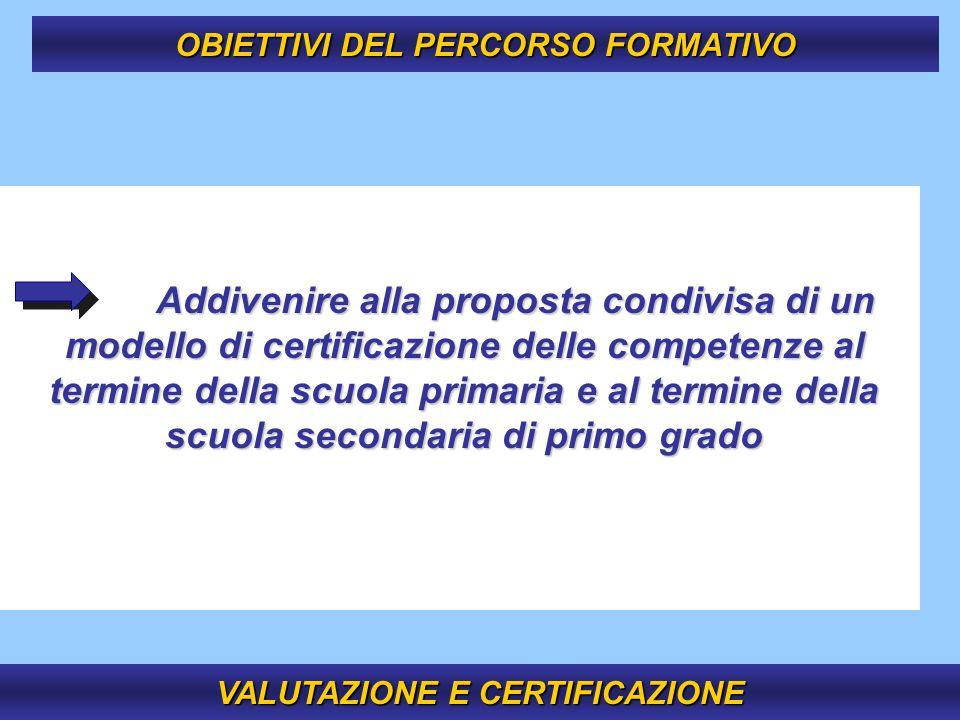 7 Addivenire alla proposta condivisa di un modello di certificazione delle competenze al termine della scuola primaria e al termine della scuola secon
