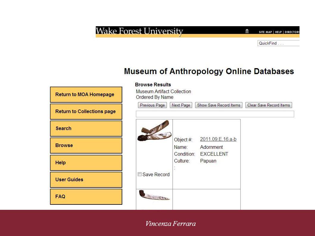 5 novembre 2010 Vincenza Ferrara Accesso personalizzato Musem of Anthropology Wake Forest University