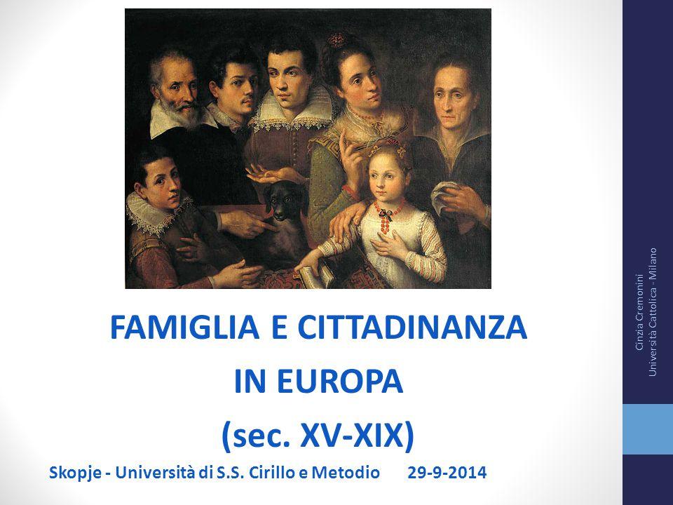 FAMIGLIA E CITTADINANZA IN EUROPA (sec. XV-XIX) Skopje - Università di S.S. Cirillo e Metodio 29-9-2014 Cinzia Cremonini Università Cattolica - Milano