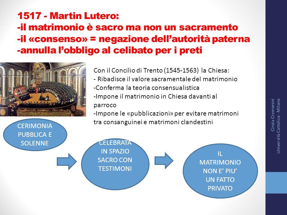 1517 - Martin Lutero: -il matrimonio è sacro ma non un sacramento -il «consenso» = negazione dell'autorità paterna -annulla l'obbligo al celibato per
