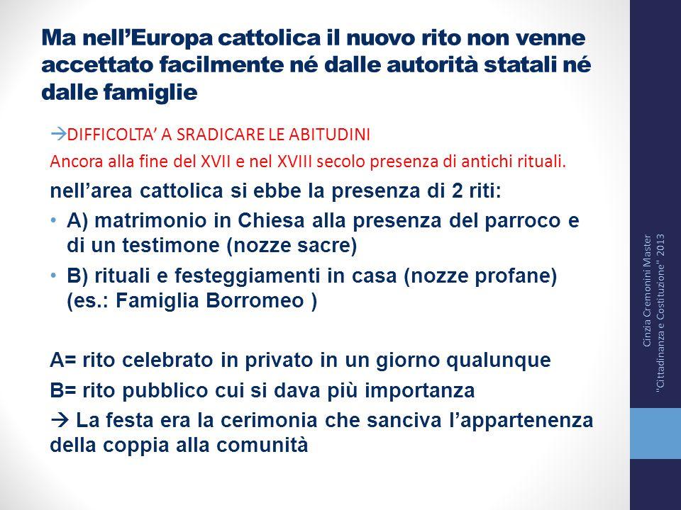 Ma nell'Europa cattolica il nuovo rito non venne accettato facilmente né dalle autorità statali né dalle famiglie  DIFFICOLTA' A SRADICARE LE ABITUDI