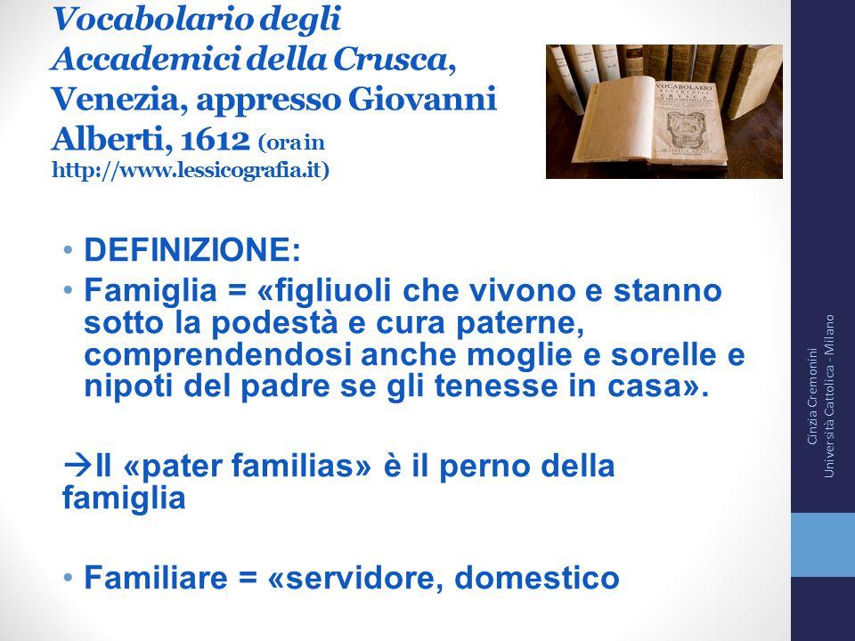 Vocabolario degli Accademici della Crusca, Venezia, appresso Giovanni Alberti, 1612 (ora in http://www.lessicografia.it) DEFINIZIONE: Famiglia = «figl