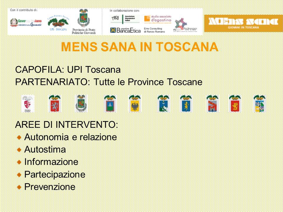 MENS SANA IN TOSCANA CAPOFILA: UPI Toscana PARTENARIATO: Tutte le Province Toscane AREE DI INTERVENTO: Autonomia e relazione Autostima Informazione Partecipazione Prevenzione