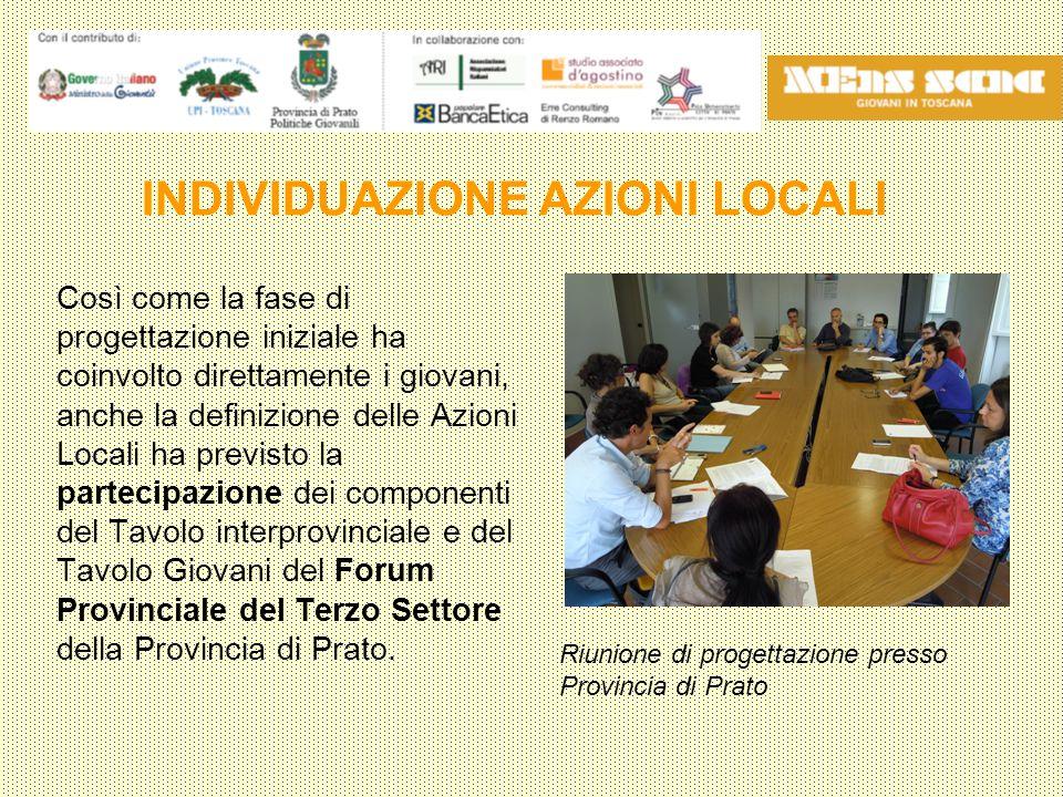 Così come la fase di progettazione iniziale ha coinvolto direttamente i giovani, anche la definizione delle Azioni Locali ha previsto la partecipazione dei componenti del Tavolo interprovinciale e del Tavolo Giovani del Forum Provinciale del Terzo Settore della Provincia di Prato.