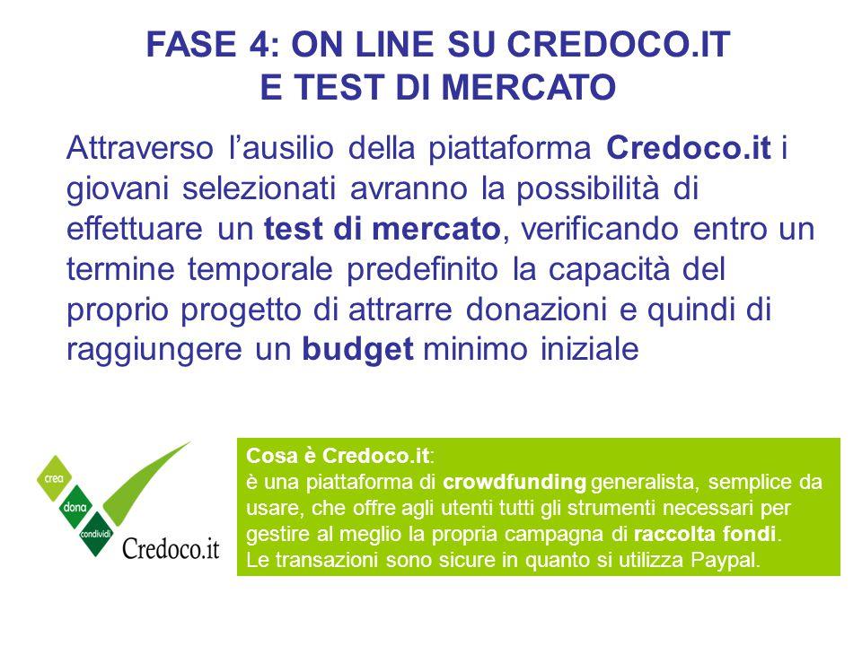 FASE 4: ON LINE SU CREDOCO.IT E TEST DI MERCATO Cosa è Credoco.it: è una piattaforma di crowdfunding generalista, semplice da usare, che offre agli utenti tutti gli strumenti necessari per gestire al meglio la propria campagna di raccolta fondi.