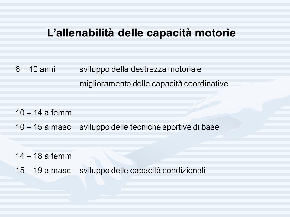 L'allenabilità delle capacità motorie 6 – 10 anni sviluppo della destrezza motoria e miglioramento delle capacità coordinative 10 – 14 a femm 10 – 15