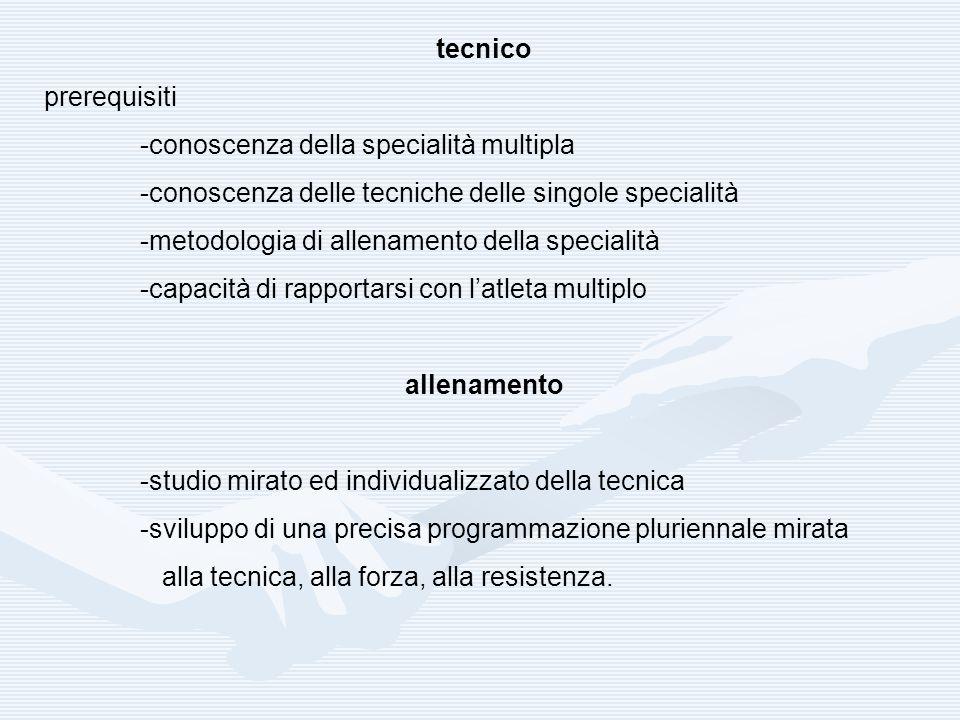 tecnico prerequisiti -conoscenza della specialità multipla -conoscenza delle tecniche delle singole specialità -metodologia di allenamento della speci