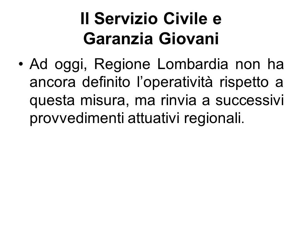 Il Servizio Civile e Garanzia Giovani Ad oggi, Regione Lombardia non ha ancora definito l'operatività rispetto a questa misura, ma rinvia a successivi provvedimenti attuativi regionali.