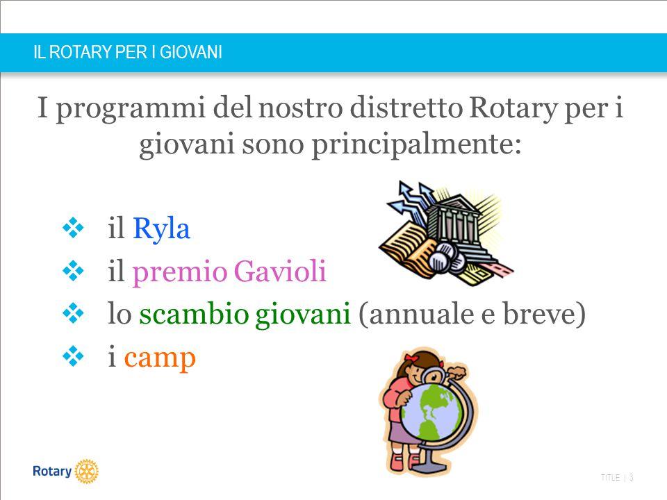 TITLE | 3 IL ROTARY PER I GIOVANI I programmi del nostro distretto Rotary per i giovani sono principalmente:  il Ryla  il premio Gavioli  lo scambi