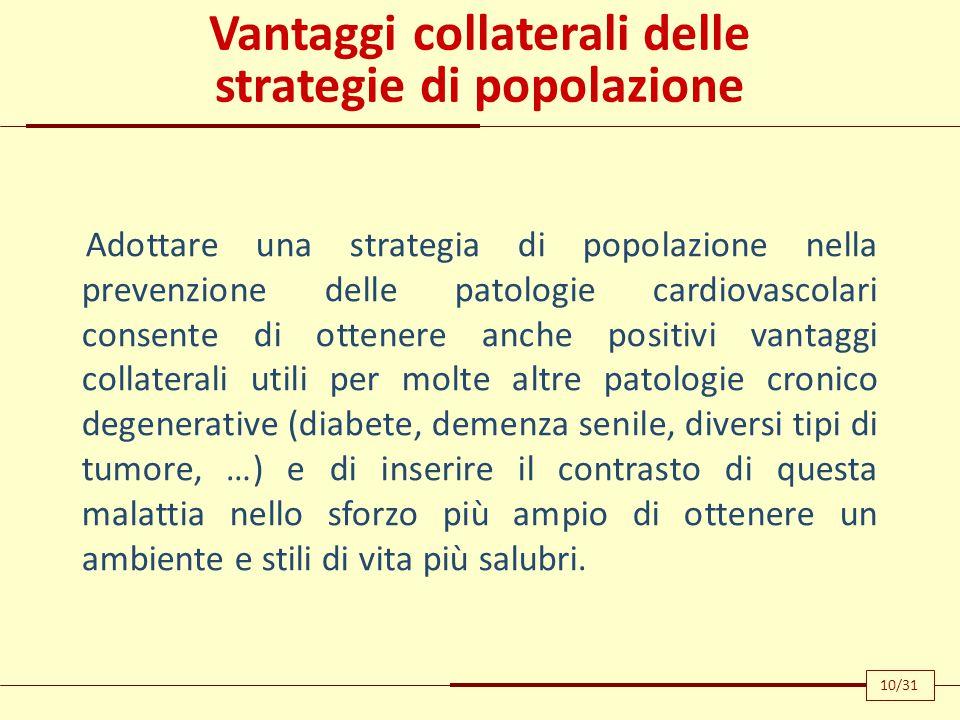 Vantaggi collaterali delle strategie di popolazione Adottare una strategia di popolazione nella prevenzione delle patologie cardiovascolari consente d
