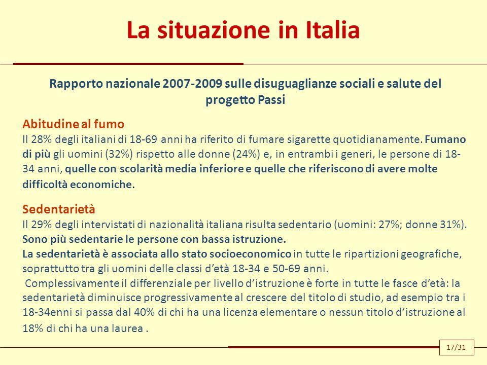 La situazione in Italia Rapporto nazionale 2007-2009 sulle disuguaglianze sociali e salute del progetto Passi Abitudine al fumo Il 28% degli italiani