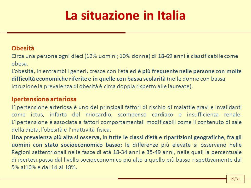 La situazione in Italia Obesità Circa una persona ogni dieci (12% uomini; 10% donne) di 18-69 anni è classificabile come obesa. L'obesità, in entrambi