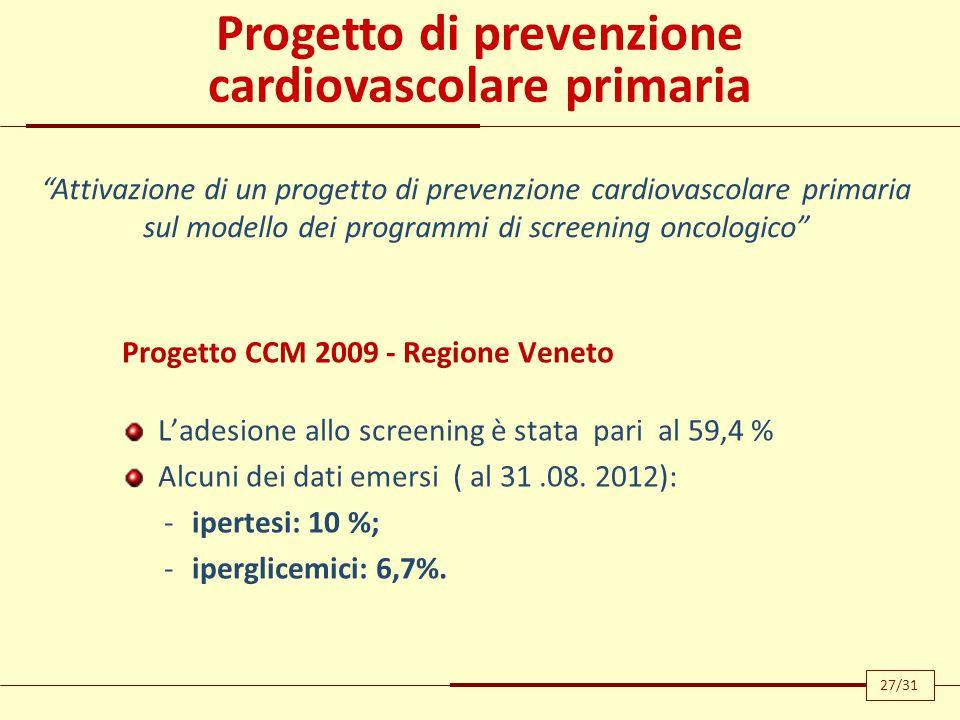 Progetto di prevenzione cardiovascolare primaria Progetto CCM 2009 - Regione Veneto L'adesione allo screening è stata pari al 59,4 % Alcuni dei dati e