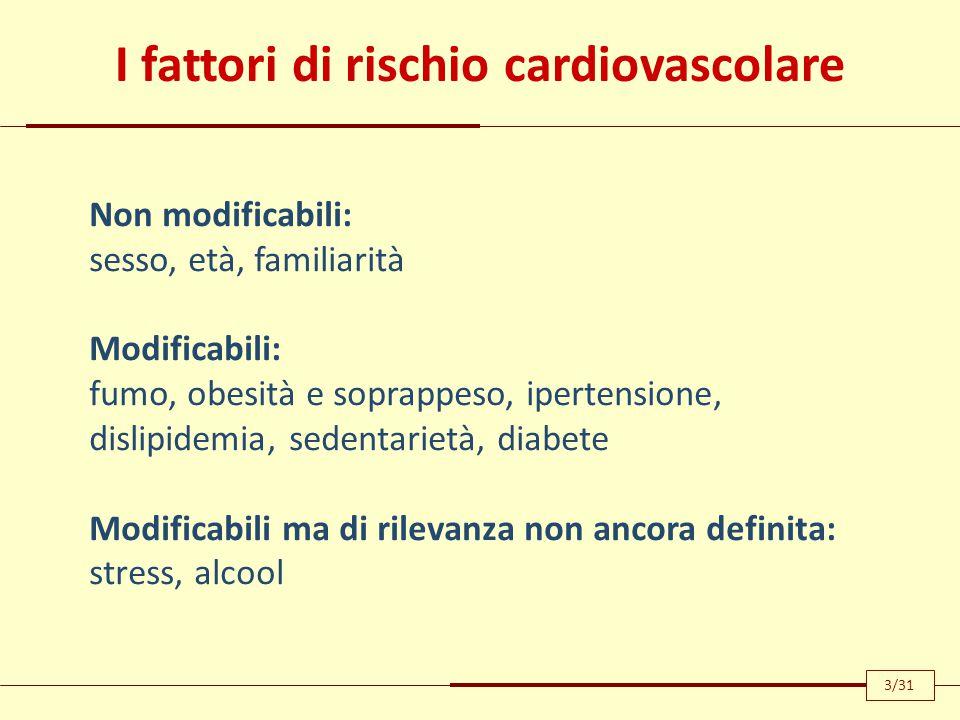 I fattori di rischio cardiovascolare Non modificabili: sesso, età, familiarità Modificabili: fumo, obesità e soprappeso, ipertensione, dislipidemia, s