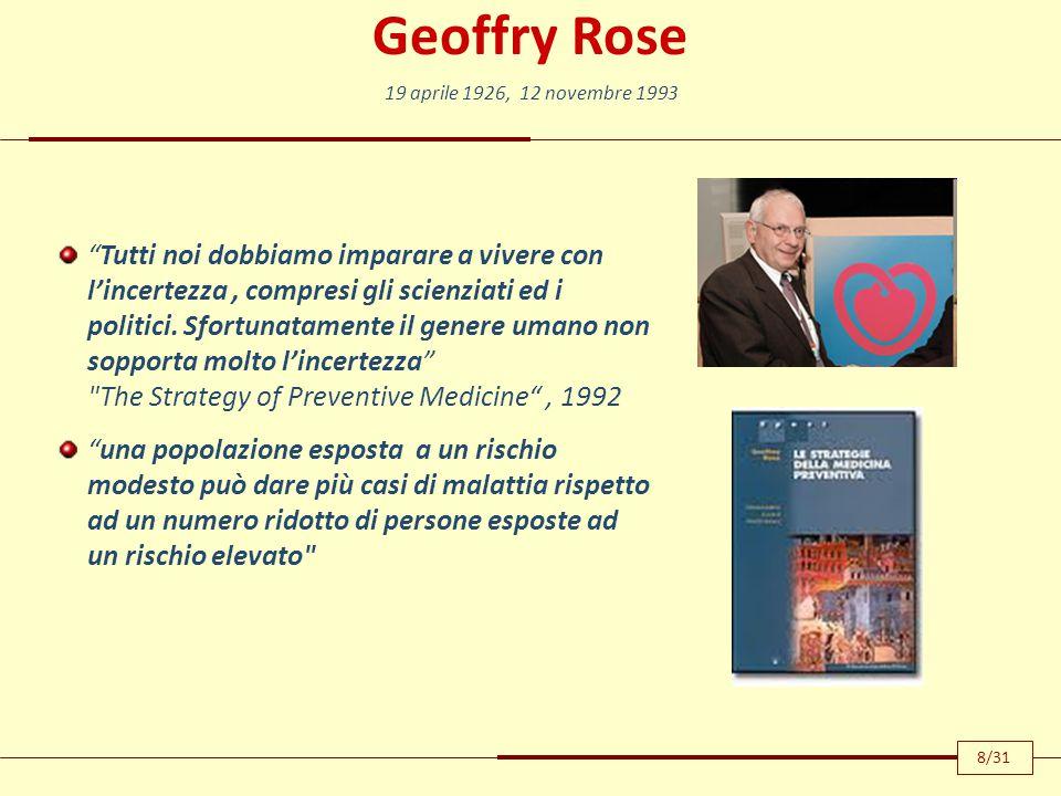 """Geoffry Rose """"Tutti noi dobbiamo imparare a vivere con l'incertezza, compresi gli scienziati ed i politici. Sfortunatamente il genere umano non soppor"""