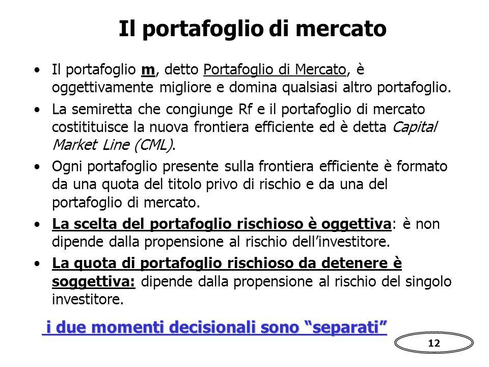 12 Il portafoglio di mercato mIl portafoglio m, detto Portafoglio di Mercato, è oggettivamente migliore e domina qualsiasi altro portafoglio.
