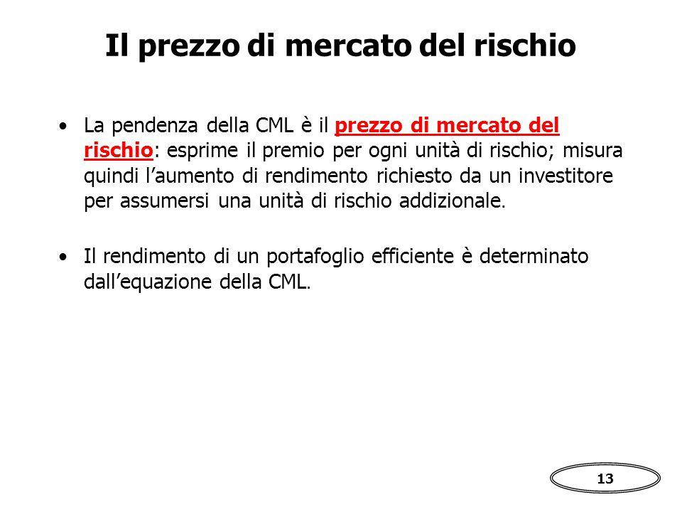 13 La pendenza della CML è il prezzo di mercato del rischio: esprime il premio per ogni unità di rischio; misura quindi l'aumento di rendimento richiesto da un investitore per assumersi una unità di rischio addizionale.