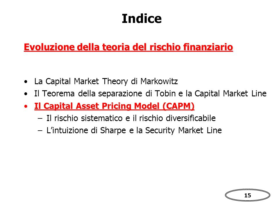 15 Indice La Capital Market Theory di Markowitz Il Teorema della separazione di Tobin e la Capital Market Line Il Capital Asset Pricing Model (CAPM)Il Capital Asset Pricing Model (CAPM) –Il rischio sistematico e il rischio diversificabile –L'intuizione di Sharpe e la Security Market Line Evoluzione della teoria del rischio finanziario