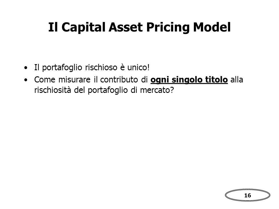 16 Il Capital Asset Pricing Model Il portafoglio rischioso è unico.