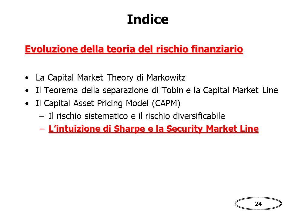 24 Indice La Capital Market Theory di Markowitz Il Teorema della separazione di Tobin e la Capital Market Line Il Capital Asset Pricing Model (CAPM) –Il rischio sistematico e il rischio diversificabile –L'intuizione di Sharpe e la Security Market Line Evoluzione della teoria del rischio finanziario
