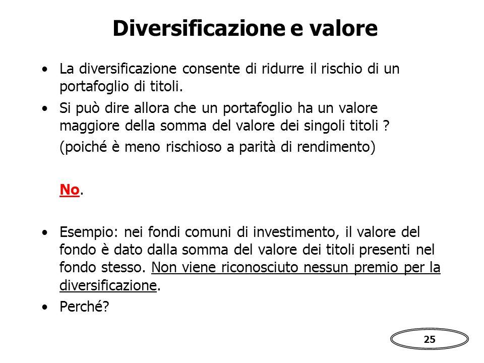 25 Diversificazione e valore La diversificazione consente di ridurre il rischio di un portafoglio di titoli.