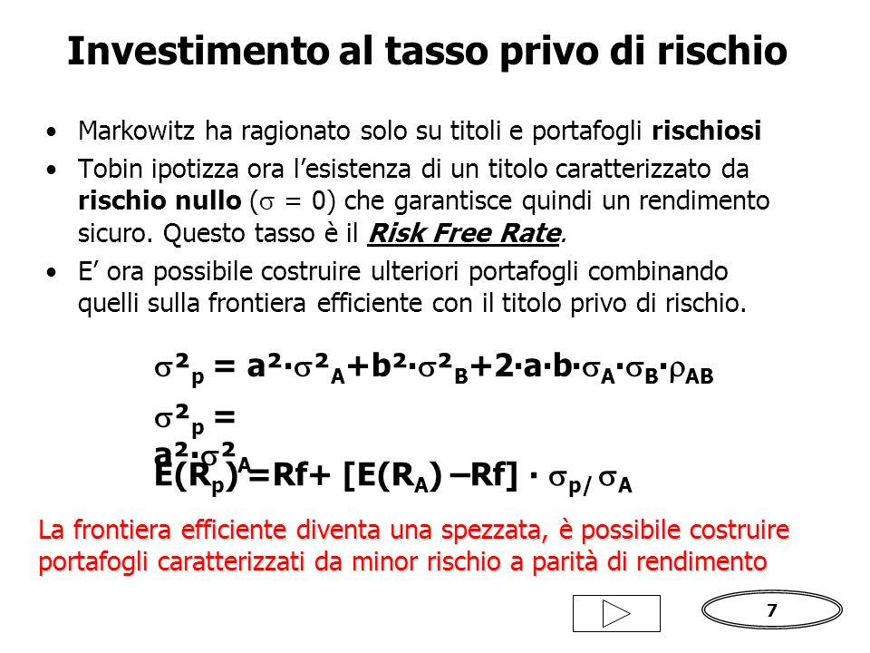 7 Markowitz ha ragionato solo su titoli e portafogli rischiosi Tobin ipotizza ora l'esistenza di un titolo caratterizzato da rischio nullo (  = 0) che garantisce quindi un rendimento sicuro.