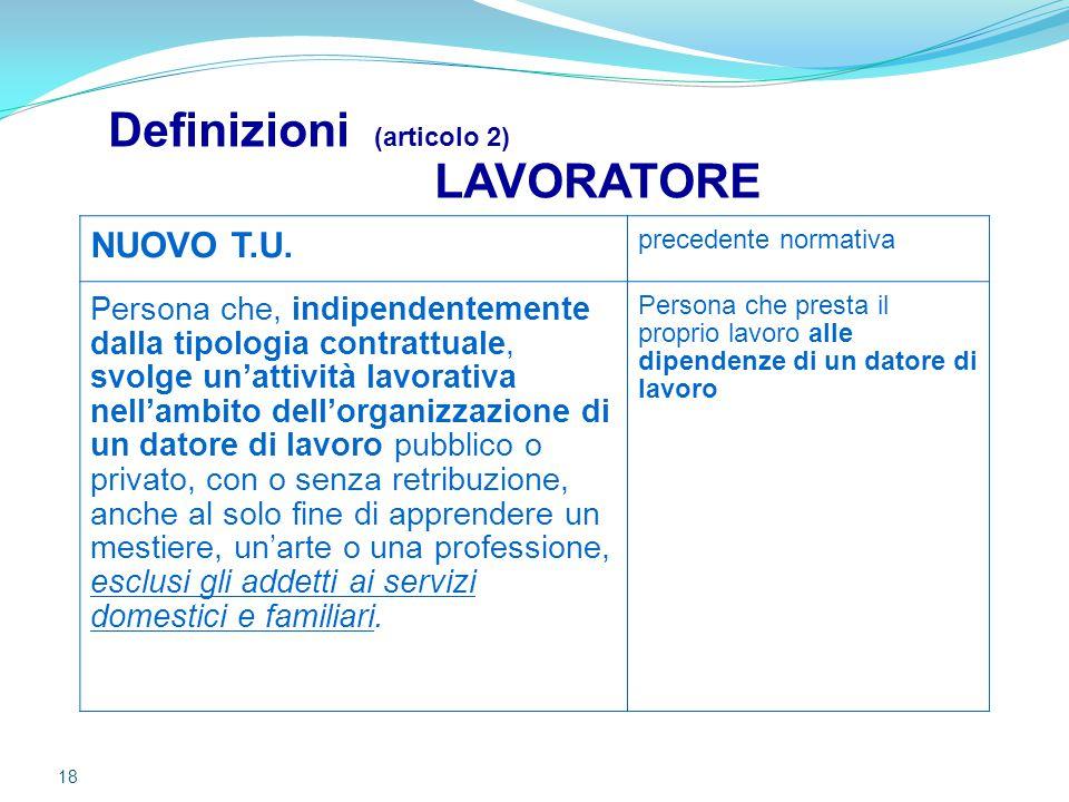 18 Definizioni (articolo 2) LAVORATORE NUOVO T.U. precedente normativa Persona che, indipendentemente dalla tipologia contrattuale, svolge un'attività
