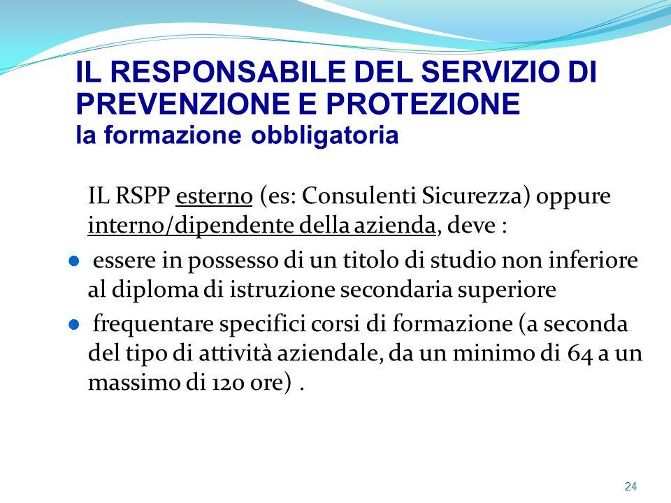 IL RSPP esterno (es: Consulenti Sicurezza) oppure interno/dipendente della azienda, deve : essere in possesso di un titolo di studio non inferiore al