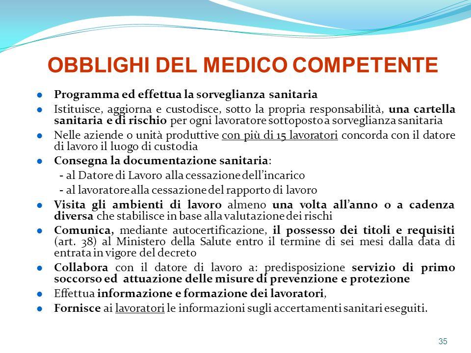 Programma ed effettua la sorveglianza sanitaria Istituisce, aggiorna e custodisce, sotto la propria responsabilità, una cartella sanitaria e di rischi