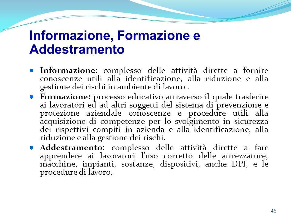 Informazione: complesso delle attività dirette a fornire conoscenze utili alla identificazione, alla riduzione e alla gestione dei rischi in ambiente